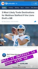 A screenshot from Kelly Stafford's Instagram story.