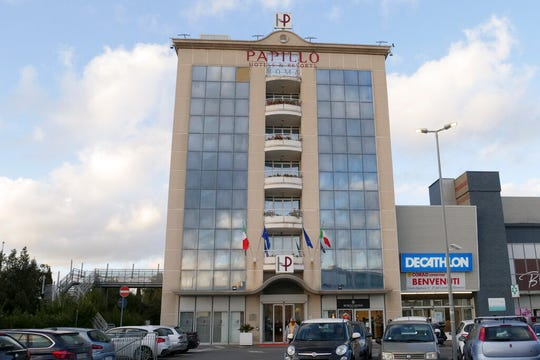 A view of the hotel where an American woman wanted in the 2002 death of her husband was arrested in Rome, Thursday, Feb. 13, 2020.