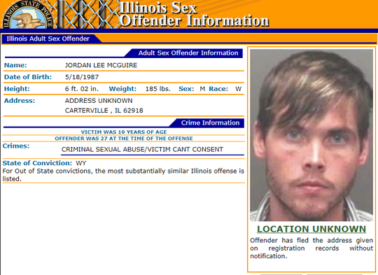 A screencap of McGuire's entry on the Illinois Sex Offender Information registry.