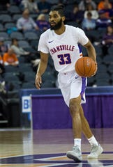 Evansville's K.J. Riley (33) dribbles the ball during their game against the Loyola University Chicago Ramblers at Ford Center Wednesday night, Feb. 12, 2020.
