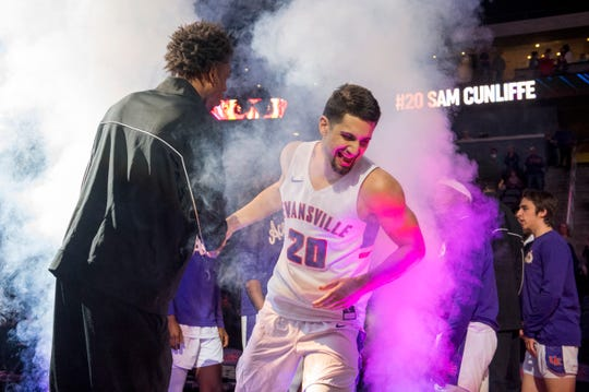 Evansville's Sam Cunliffe (20) is announced during the start of their game against the Loyola University Chicago Ramblers at Ford Center Wednesday night, Feb. 12, 2020.