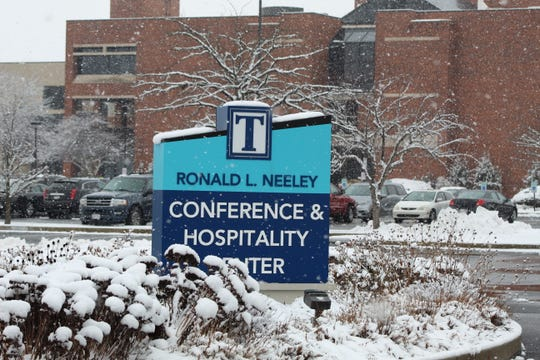 Snow fell lightly Thursday at Terra State Community College's Ronald Neeley Conference & Hospitality Center. While Terra State was open for classes, most area schools were closed Thursday due to Wednesday night's snowfall.