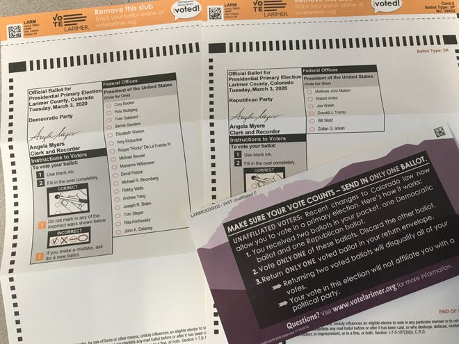 Ballots for the 2020 Colorado presidential primary.