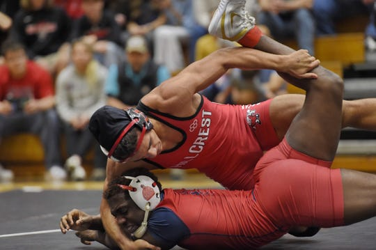 Hillcrest defeated Lugoff-Elgin in the Class AAAAA Upper State wrestling championship Wednesday and advances to the title match against White Knoll on Saturday.