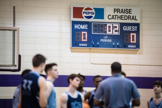 The Greer Middle College basketball team practices at the Praise Cathedral gymnasium Monday, February 10, 2020.