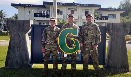 From left. cadets John Bautista, Noel Degracia, and Justin Cayading from the University of Guam's ROTC program were selected for fully paid internships with the U.S. Army this coming summer.