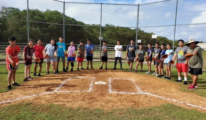 The Guam Amateur Baseball Association presented Okkodo High with 20 new softball fielder's gloves recently.