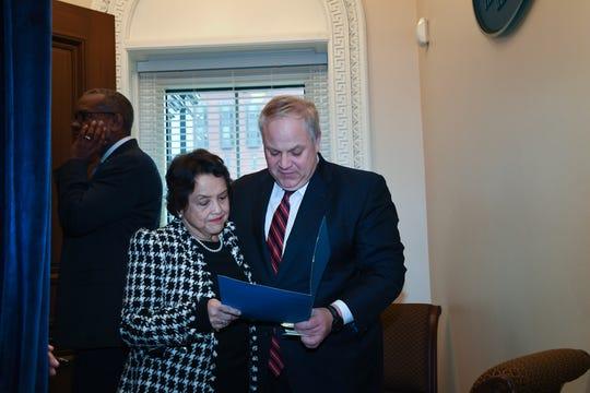 U.S. Secretary of Interior David Bernhardt with Gov. Lou Leon Guerrero.