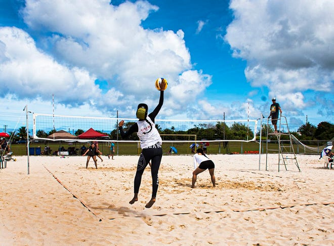 Kendra Byrd serves the ball during a qualifying match to the FIVB Beach Volleyball World Tour women-only 1-Star event from March 5-8. Byrd and her partner, Kara Eugenio, won the event and will represent Guam along with two other teams at the prestigious event.
