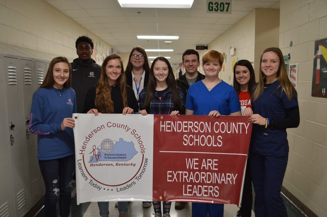 The January Students of the Month are front row, from left: Hallie Mattingly, Emma Becker, Natalie Hutchinson, Hilan Curtner and Estie Hazelwood. Back row from left: Saadiq Clements, Kylie Brown, Hunter Book, Emilee Hope. Not pictured are Shaun McManus, Jamie Rideout and Ian Young.