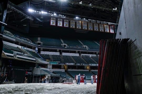 Paneling leans up against the wall at Bankers Life Fieldhouse, Indianapolis, Thursday, Feb. 13, 2020. The Fieldhouse goes under a transformation preparing for CINCH World's Toughest Rodeo by pulling up the basketball court, laying down dirt and cattle shoots.