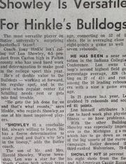 Tony Hinkle sang the praises of Lon Showley in this article his senior year.