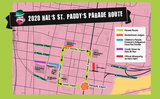 Hal's St. Paddy's Parade 2020 route