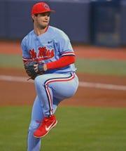 Ole Miss pitcher Gunnar Hoglund winds up to throw. (Courtesy Ole Miss athletics)