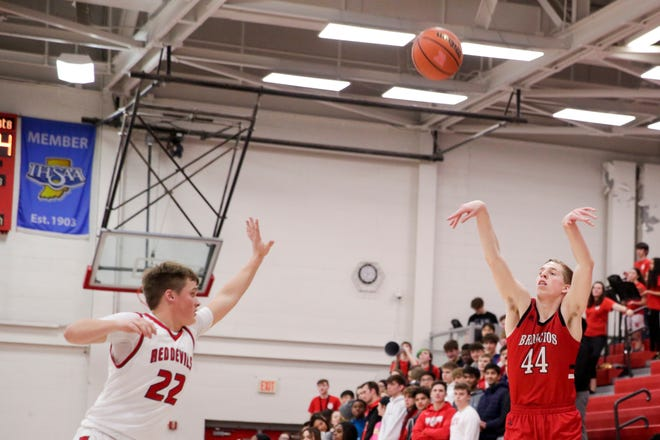 Lafayette Jeff's Braxton Barnhizer (44) goes up for three against West Lafayette guard Colin Martin (22) during the first quarter of an IHSAA boys basketball game, Wednesday, Feb. 12, 2020 in West Lafayette.