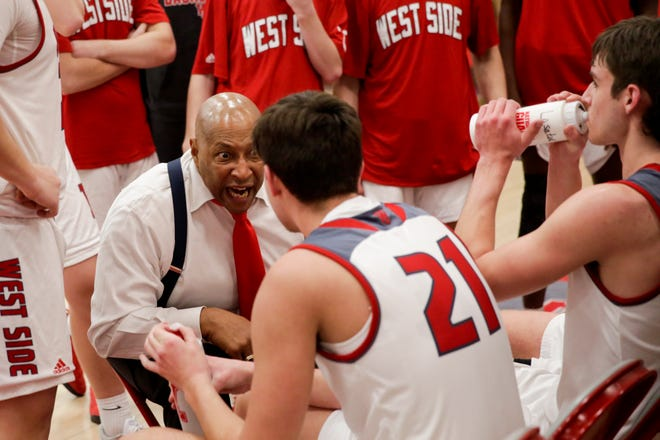 West Lafayette head coach David Wood reacts during a timeout during the fourth quarter of an IHSAA boys basketball game, Wednesday, Feb. 12, 2020 in West Lafayette.
