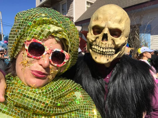 Maria Clark and Duane Dugas in costume on Mardi Gras day, March 5, 2019.