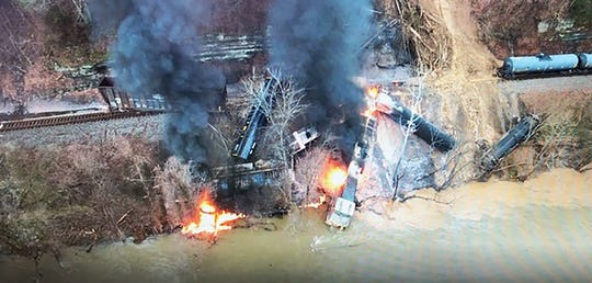 A drone image shows a bird's-eye view of the train derailment in Pikeville on Thursday.