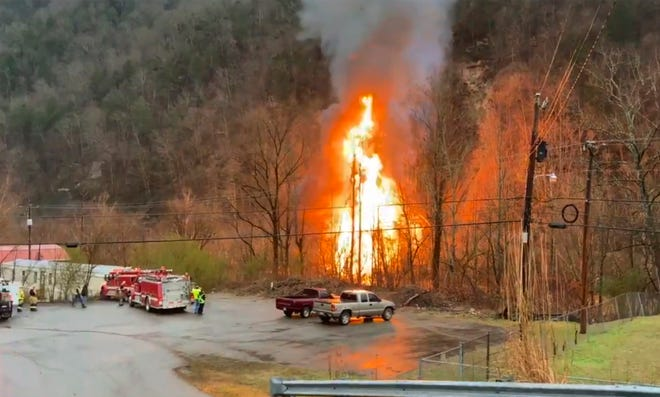 First responders on the scene of a train derailment in Eastern Kentucky on Thursday.