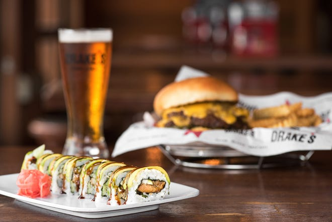 Drake's servs craft beer, burgers and sushi.