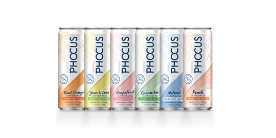 The current lineup of all 6 flavors of Phocus (from left to right: Blood Orange, Yuzu and Lime, Grapefruit, Cucumber, Natural, and Peach).