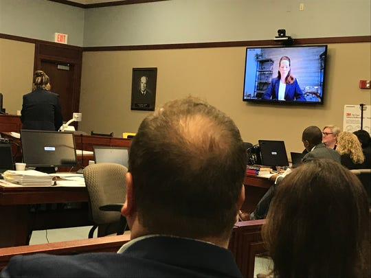 Jennifer Burton testifies via video conference Thursday, Feb. 13, 2020, in the trail of former Michigan State University gymnastics coach Kathie Klages.