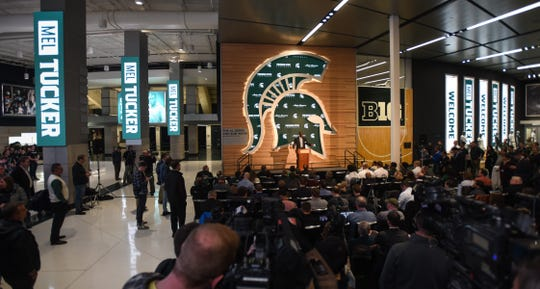 New Michigan State football coach Mel Tucker speaks Wednesday, Feb. 12, 2020, at the Gilbert Pavilion in Michigan State's Breslin Center.