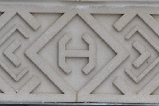 """This stylized """"H"""" is one of the exterior features that adorns the Harding Presidential Center. Site Manager Sherry Hall said Warren and Florence Harding used the same style """"H"""" on monogrammed items."""