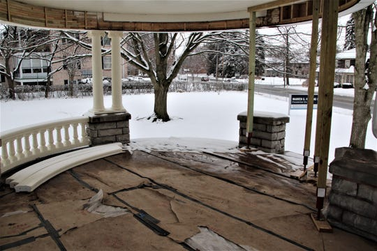 """Restoration work continues on the famous front porch of the Harding Home in Marion. This is where then-presidential candidate Warren G. Harding conducted his """"front porch campaign"""" during the 1920 election."""