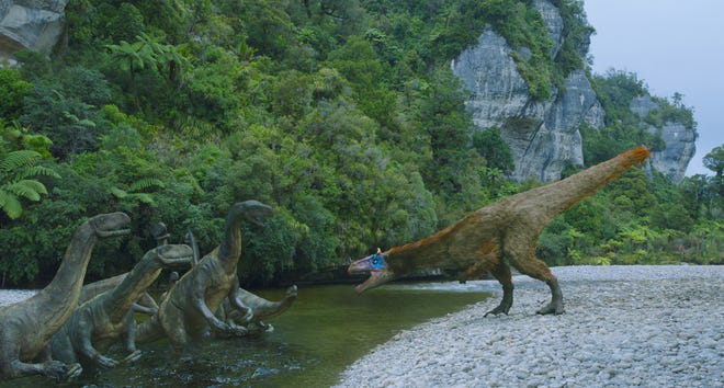 """Millions of years ago, the bottom of the world was more tropical than frigid and was inhabited by prehistoric monsters, as revealed in the new Memphis Pink Palace Museum """"giant screen"""" movie """"Dinosaurs of Antarctica 3D."""""""
