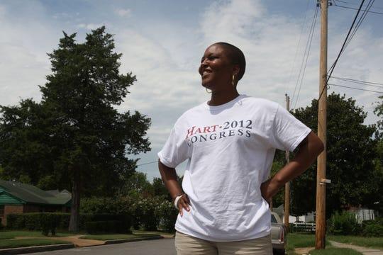Aug. 2, 2012 - Tomeka Hart, who ran for Congress, campaigns at the Springdale Baptist Church.