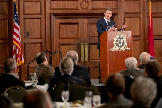 Gov. Bill Lee speaks at the Economic Club of Memphis monthly meeting Thursday, Feb. 13, 2020, at the University Club of Memphis.