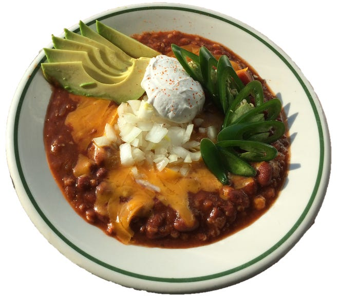 """The """"Vegetarian Chili"""" at Beans & Barley in Milwaukee is made with small red beans, bulgur, onion, carrot, celery, green peppers, garlic, tomato sauce, thyme, oregano, chili powder, cayenne, black pepper, salt, cumin, and coriander."""