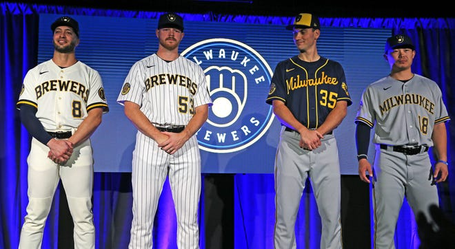 The Brewers will be wearing their new uniforms throughout camp this year instead of a different spring training uniform.