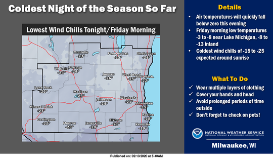 Wind chills ranging from 15 to 25 degrees below zero are forecast tonight into mid-morning Friday, according to the National Weather Service.