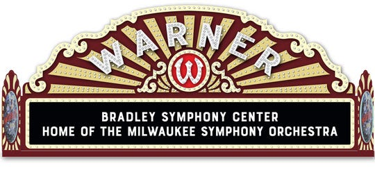 An artist rendering shows the original Warner marquee with the name of the Milwaukee Symphony's new home, the Bradley Symphony Center.
