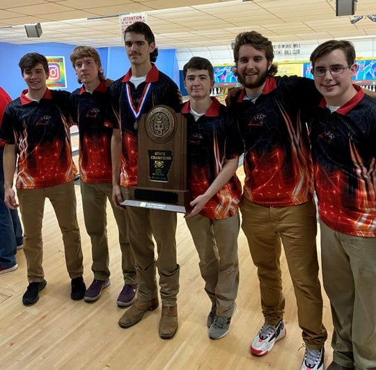 Norfork's six senior bowlers are from left) Tyler Sorters, Dawson Gray, Ty Rosson, Ethan Chapman, Landon Byrd and Brady Hamm.