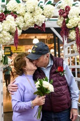 Couples who are married for more than 50 years renew their vows during a ceremony at Stew Leonard's in Paramus on Thursday February 13, 2020. Eve and Ralph Lee married 66 years share a kiss after renewing their vows.