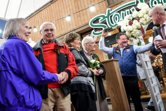 Couples who are married for more than 50 years renew their vows during a ceremony at Stew Leonard's in Paramus on Thursday February 13, 2020. (From left) Eileen & Peter Cammarano from Teaneck married 58 years, Margaret & Fred Sortino from Paramus married 69 years, Stew Leonard Junior and Paramus Mayor Richard LaBarbiera.