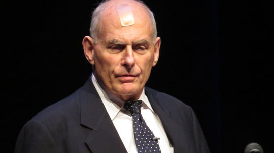 Gen. John Kelly, former chief of staff to President Donald Trump, speaks at the Mayor Performing Arts Center in Morristown. Feb. 12, 2020