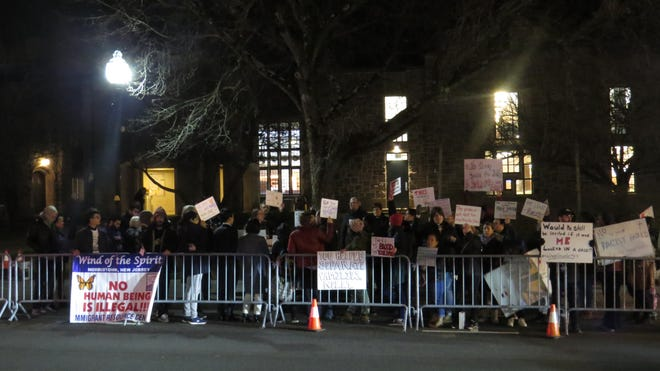 Several groups gather across the street from the Mayo Performing Arts Center in Morristown to protest a speaking appearance that night by Former President Donald Trump Chief of Staff Gen. John Kelly. Feb. 12, 2020