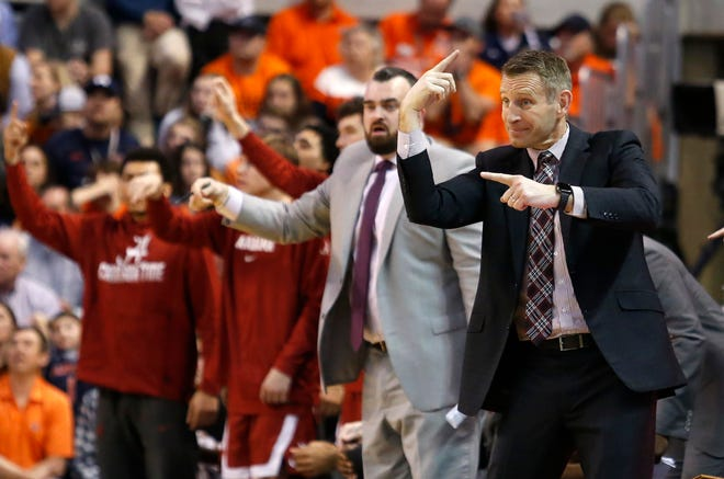 Feb 12, 2020; Auburn, Alabama, USA; Alabama Crimson Tide head coach Nate Oats reacts during the second half against the Auburn Tigers at Auburn Arena. Mandatory Credit: John Reed-USA TODAY Sports