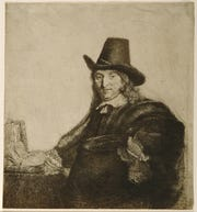 "Rembrandt van Rijn (Dutch, 1606–1669), Jan Asselyn, Painter (Krabbetje), ca. 1647, etching and drypoint with engraving on Japanese paper mounted to a second sheet, Montgomery Museum of Fine Arts, Gift of Jean K. Weil in memory of Adolph ""Bucks"" Weil, Jr., 1999.7.103"