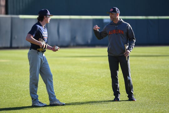 Auburn pitching coach Tim Hudson (left) during practice on Jan. 24, 2020.