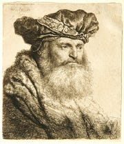 "Rembrandt van Rijn (Dutch, 1606–1669), Bearded Man in a Velvet Cap with Jewel Clasp, 1637, etching on laid paper, Montgomery Museum of Fine Arts, Gift of Jean K. Weil in memory of Adolph ""Bucks"" Weil, Jr., 1999.7.78"