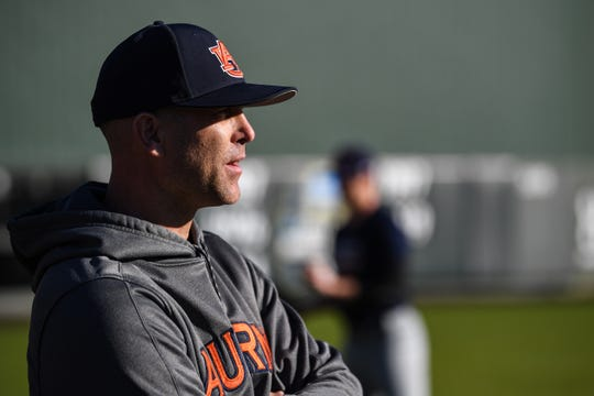 Auburn pitching coach Tim Hudson during practice on Jan. 24, 2020.