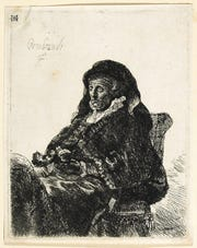 Rembrandt van Rijn (Dutch, 1606–1669), The Artist's Mother in Widow's Dress and Black Gloves, ca. 1632, etching and drypoint on laid paper, Montgomery Museum of Fine Arts, Gift of Mr. and Mrs. Adolph Weil, Jr., in memory of Mr. and Mrs. Adolph Weil, Sr., 1991.8.3