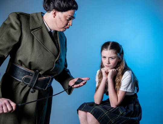 "Eleanor Nolan (at right) plays the title character in the musical ""Matilda"" Michael Williamson plays Miss Trunchbull at Muncie Civic Theatre."