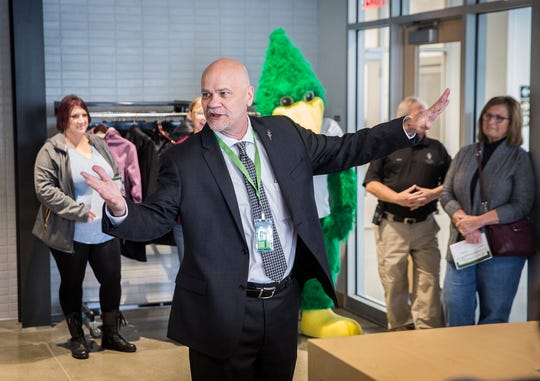 Chancellor Jeff Scott gives a speech during the grand opening of Chesterfield's Cafe. The restaurant, housed in Ivy Tech's new George and Frances Ball Building downtown, held its grand opening Thursday morning.
