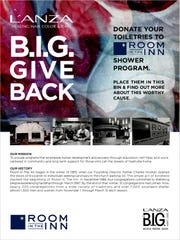 "The L'ANZA hair care company always does a community ""give back"" as part of its B.I.G. Event conventions. When the stylists and salon owners come to Nashville this month, they will donate their hotel toiletries and other personal care products to Room in the Inn for its shower program."